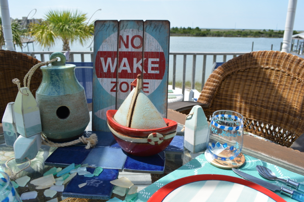 no wake zone sea glass centerpiece