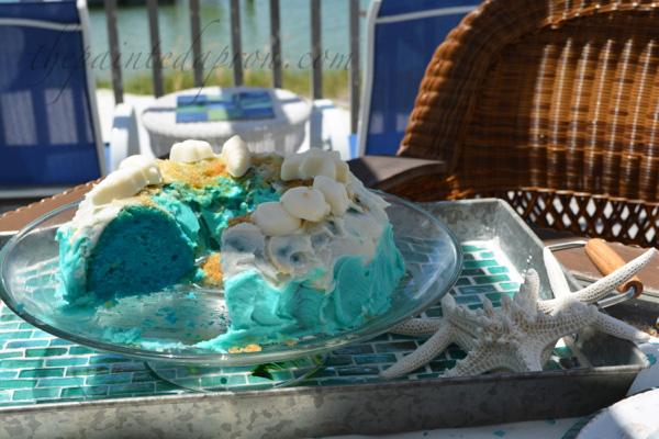 beach cake on tile tray