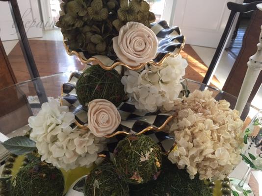 rose & hydrangea centerpiece detail