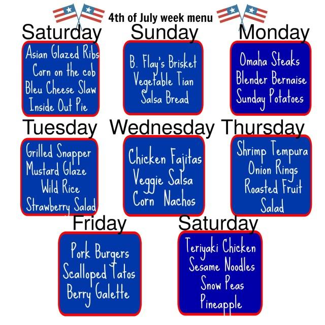 vacation week menu
