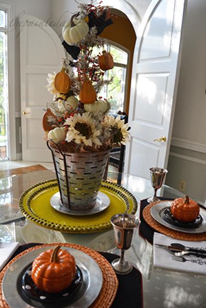 pumpkins and fall tree