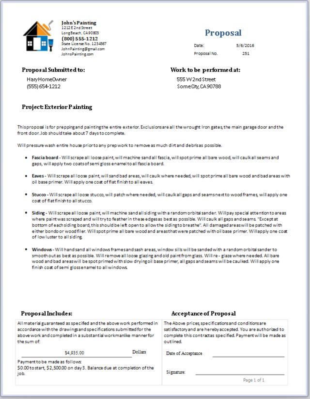 Painting Proposal Free Download Printable Templates Lab