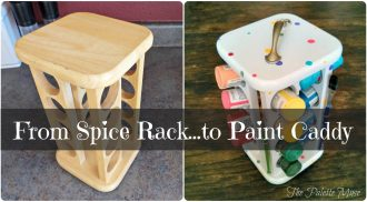 An old spice rack gets new life as a craft paint organizer