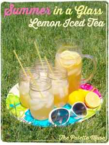 """Summer in a Glass"" Lemon Iced Green Tea"