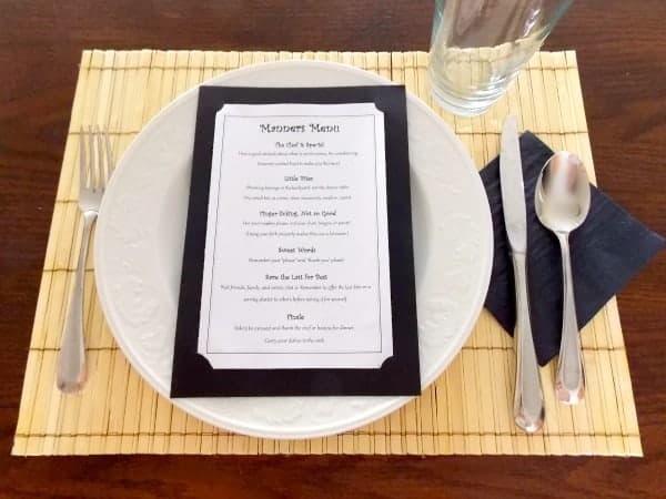 Table Manners Menu