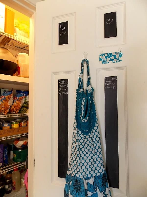 Hang an apron in the pantry, so you can grab it while you're getting cooking supplies.
