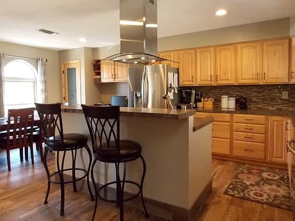 Great flow and plenty of space throughout the kitchen.