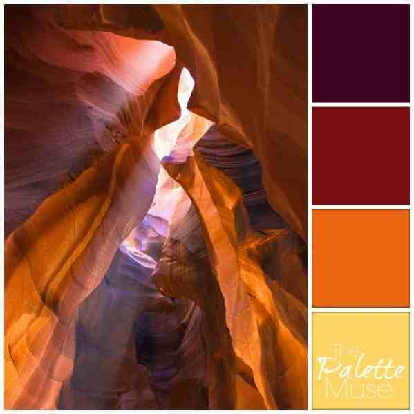This canyon palette glows with warm yellow, orange and reds. ThePaletteMuse.com