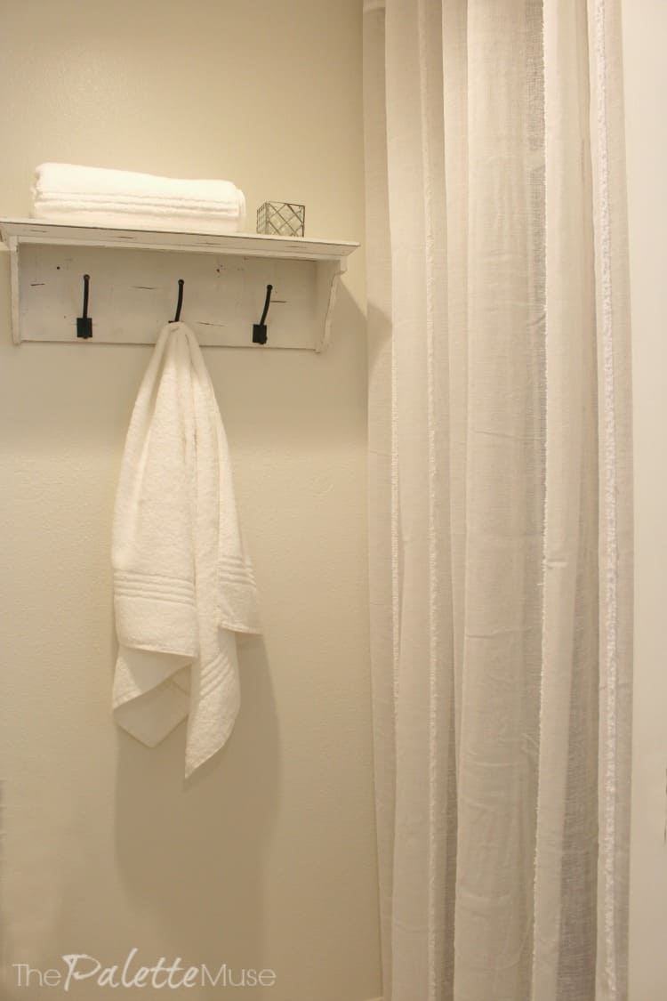 Perfect Curtains to hide shower u Done for I found these lovely white u curtains at Tuesday Morning and they are perfect for hiding the yellow cultured