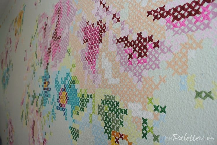 Detail of giant painted cross stitch mural!