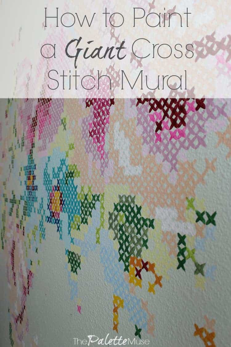 Cross stitch floral map mural the palette muse for Cross stitch wall mural