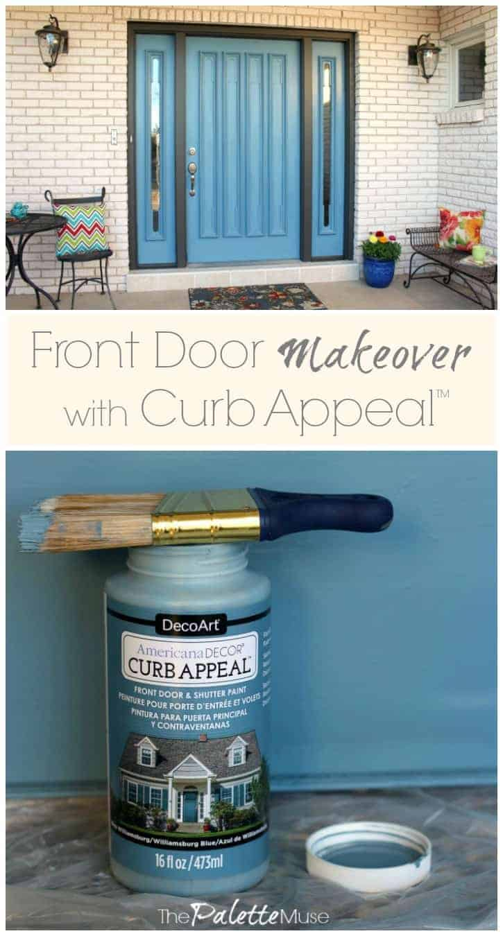 Front porch makeover with DecoArt Curb Appeal paint.