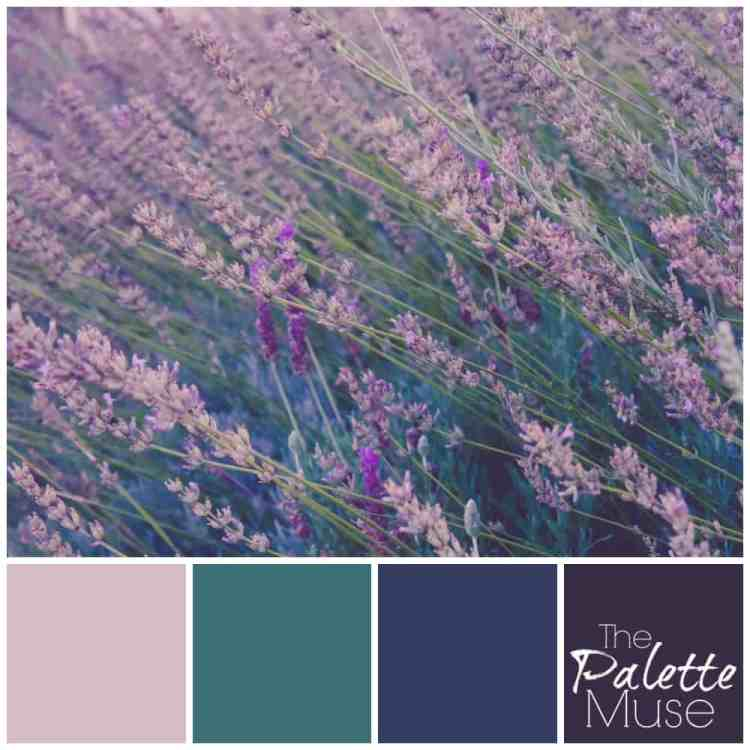 This lavender palette brings out cool blues and greens to complement the purple shades of the plant.