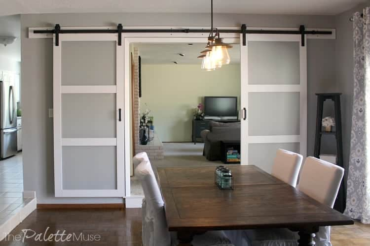 Gorgeous double barn doors in the dining room