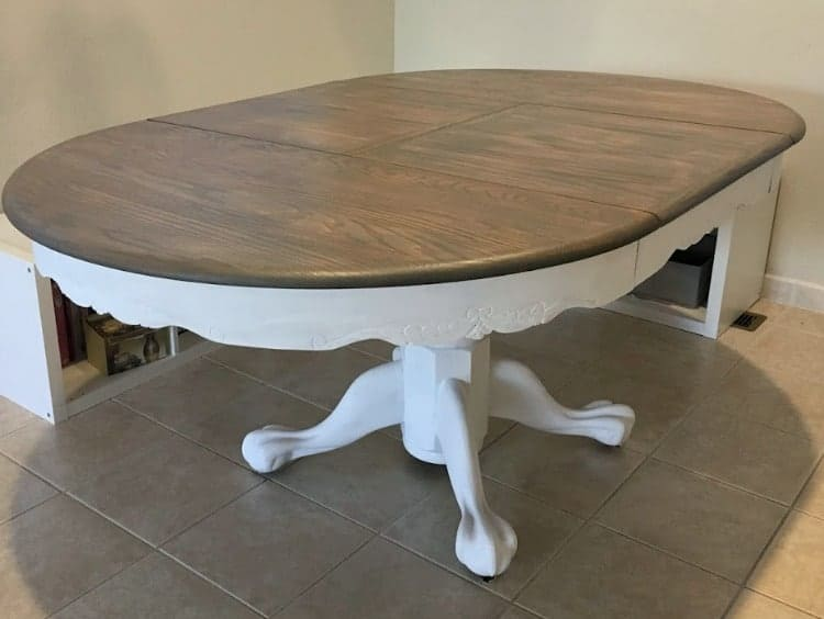 Farmhouse table with white painted base