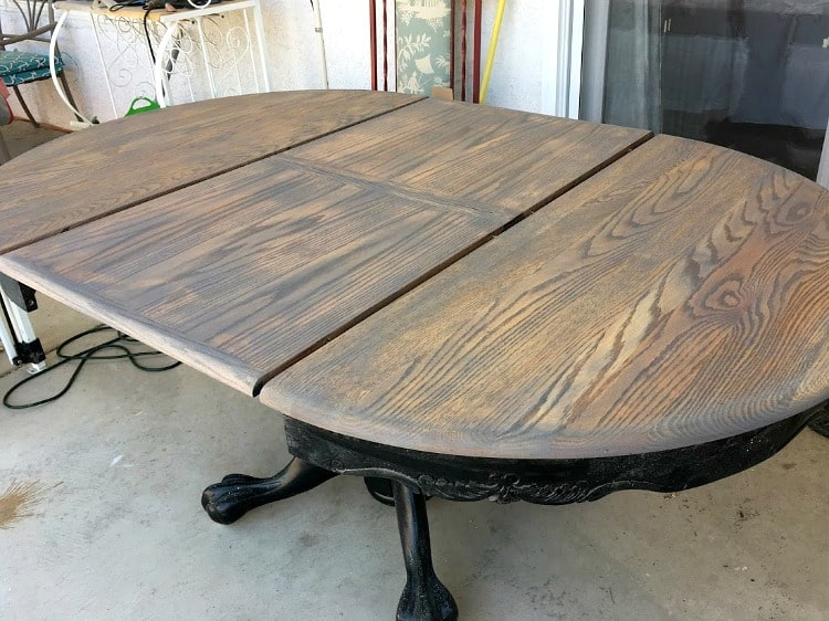 Table top after stain and before a top coat
