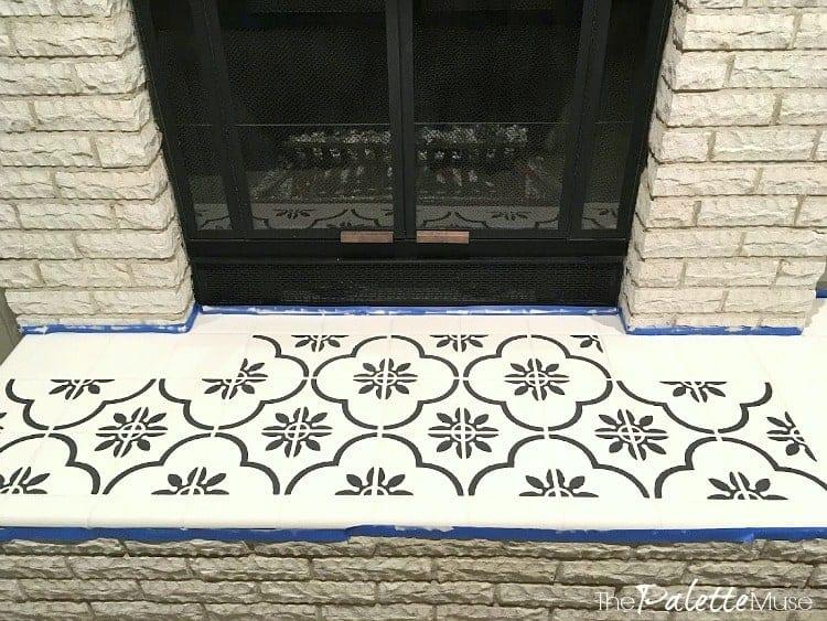 Stenciling tile in progress