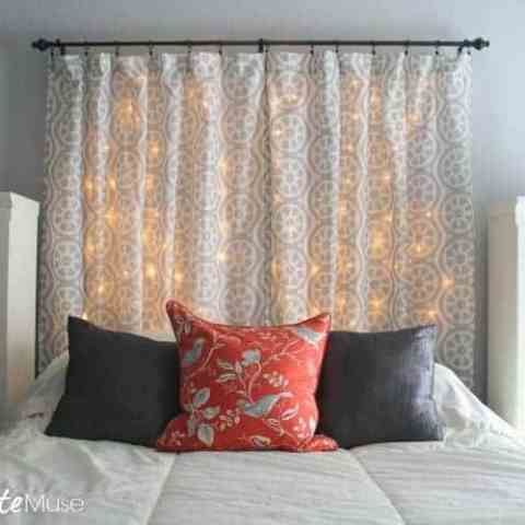 Make a Light-up Headboard from Curtains and String Lights