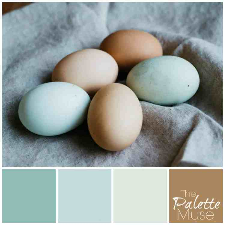 This natural palette brings out the blue, greens, and buff color of fresh eggs in the spring.