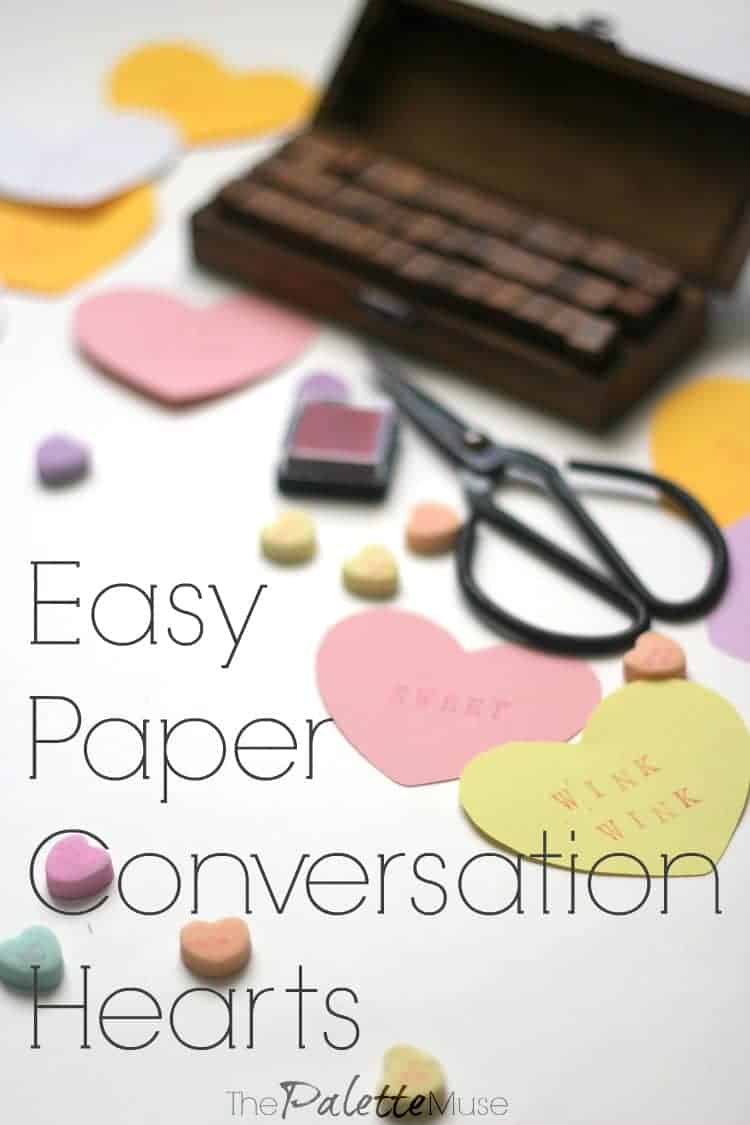These paper conversation hearts are so easy and fun to make. Perfect for lunchbox love notes! #valentinesday #papercrafts #thepalettemuse