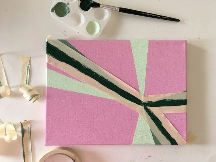Overlap colors from your color palette to create this stripey painting.