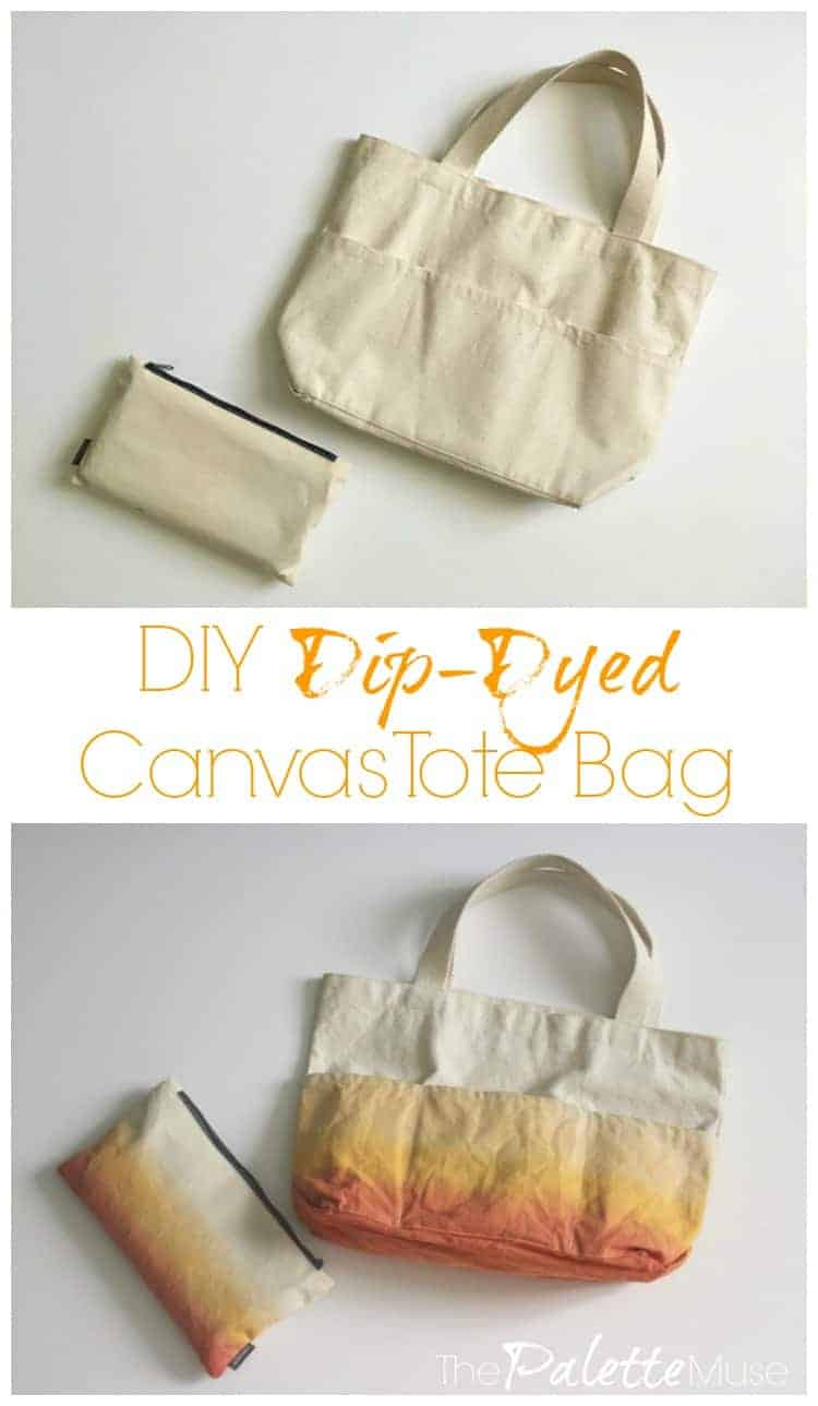 Turn any plain tote bag (and pencil bag) into a fun ombre dip-dyed set.