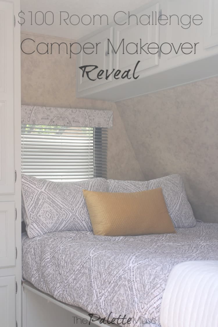 It's finally time for my camper's big reveal! This makeover was super fun, quick and cheap, thanks to the $100 Room Challenge. #100roomchallenge #campermakeover #DIYdecor
