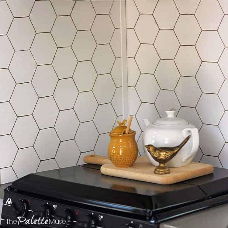 diy gold hexagon backsplash the