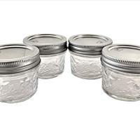 Mason Ball Jelly Jars-4 oz. each - Quilted Crystal Style