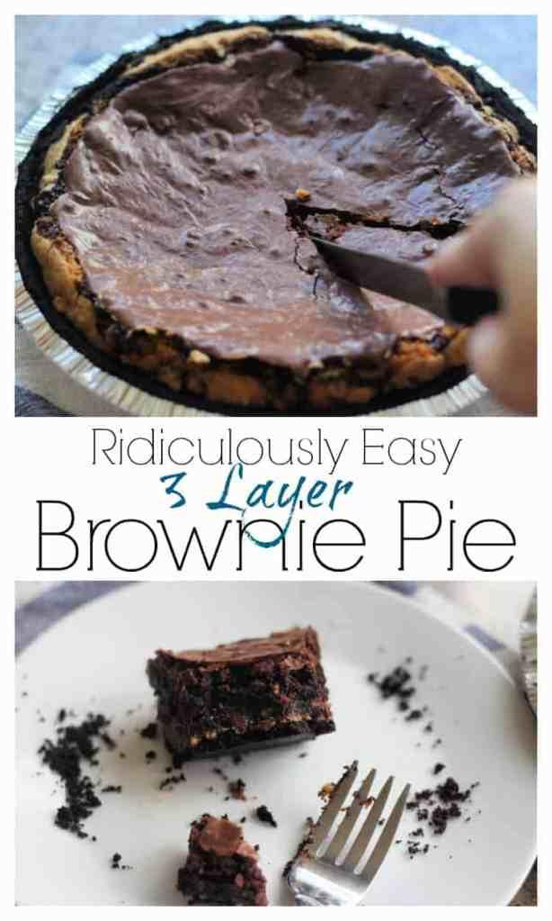 3 Layers of brownies and cookies make a dark chocolate brownie pie.