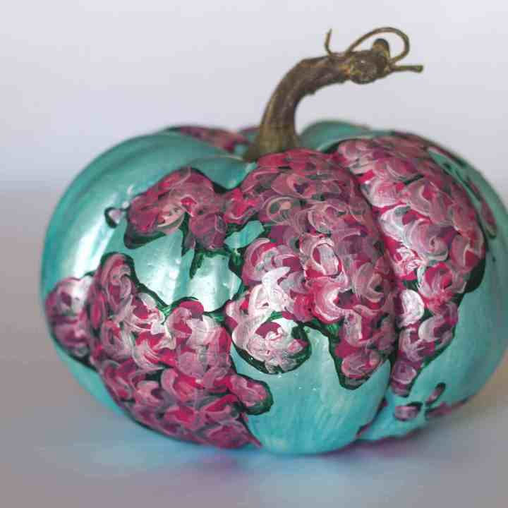 Floral map painted pumpkin