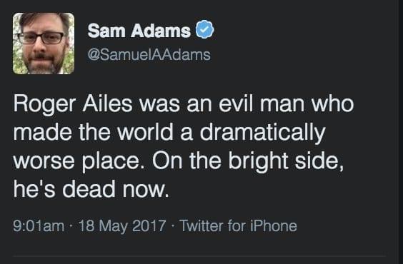 Sam admas tweet praisng ailes death