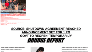 DRUDGE REPORT CLAIM! US Government to OPEN, temporary deal reached