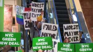 WATCH! Trump supporters crash De Blasio's Green New Deal presser