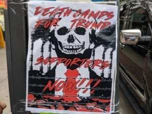 "Theater group puts up ""Death Camps for Trump supporters"" signs around NY"