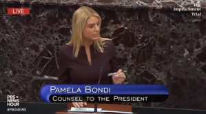 "Pam Bondi calls out Dems for throwing ""due process"" out the window with there impeachment sham"