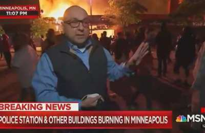 "MSNBC Journo claims ""This Is Mostly A Protest"" while a building burns in the background"