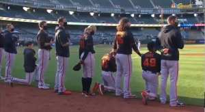 MLB: Some SF Giants Players Kneel For National Anthem