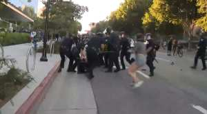 Antifa Rioters Charged L.A Police While They Were Conducting An Arrest