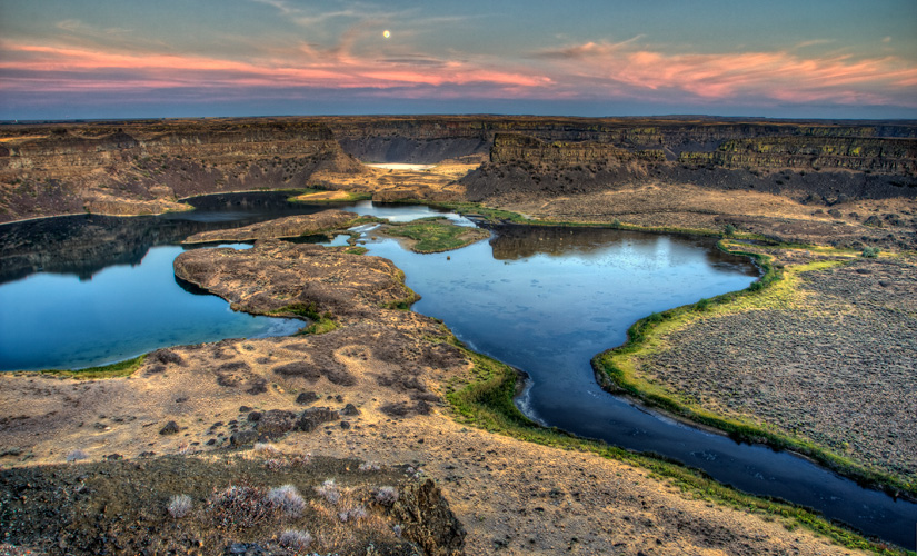 Moon at Dry Falls Overlook - Copyright Gary Hamburgh 2009 - All Rights Reserved