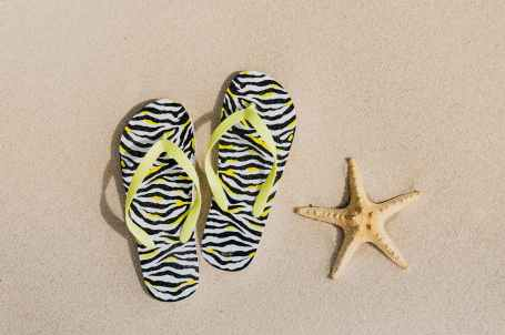 flip flops and a starfish on sand