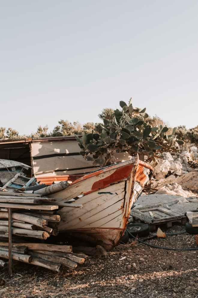 old broken boat