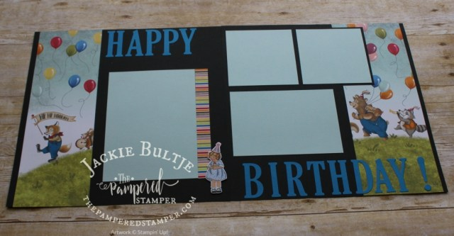 Large Letters Framelits make this a striking scrapbook layout.