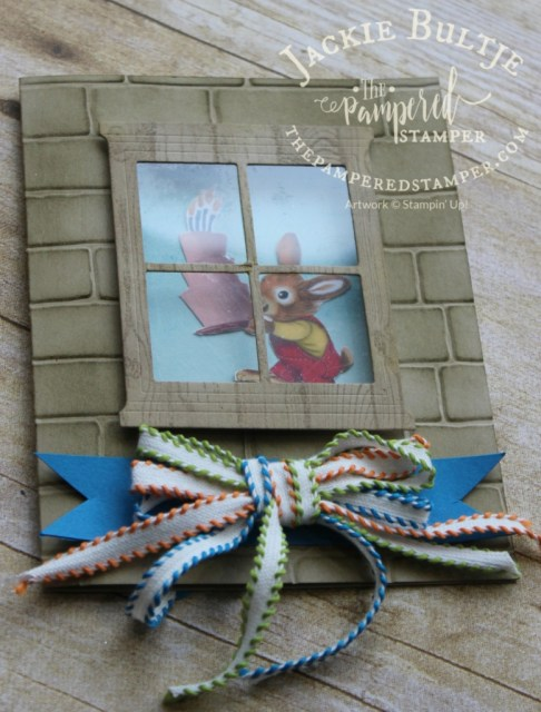 Brick wall embossing folder, hearth and home thinlets and window sheets.
