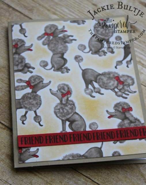 """The poodle card is also very simple with just a piece of patterned paper and a strip of red card stock stamped with the word """"friend"""" that is in the stamp set."""