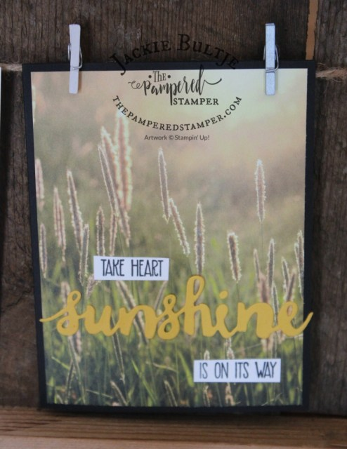 The Serene Scenery paper is retired but the Sunshine Sayings set is still available with the coordinating framelits.