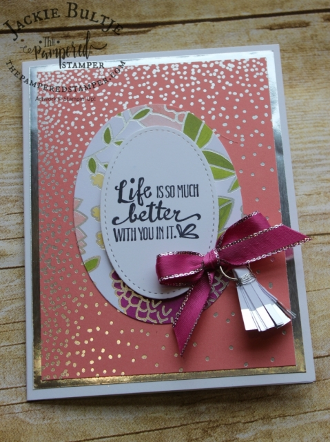 Tassel from embellishment kit as well as metallic edge berry burst ribbon take this card to a new level.
