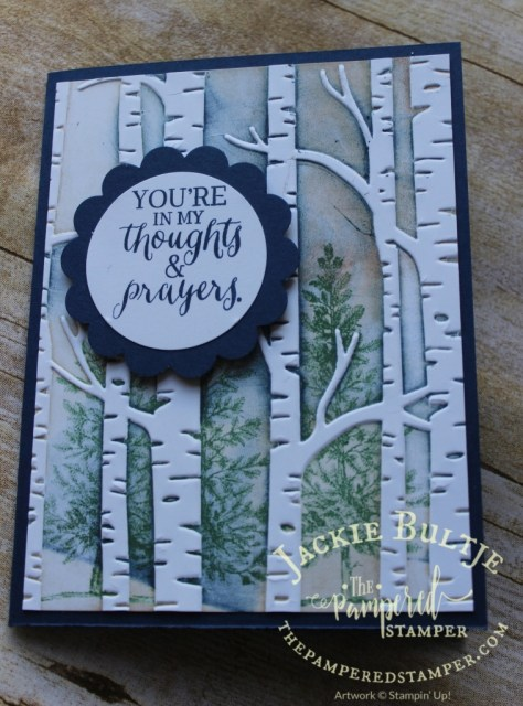 Finished card using Rose Wonder, Lovely as a Tree and Woodland embossing folder.