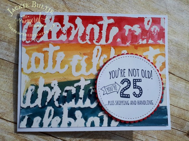 shimmer white cardstock with Brusho aquapainter wash and Five for All