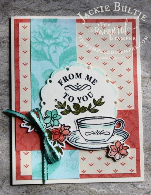 Calypso Coral and Coastal Cabana combine for this Time for Tea card cased from Shelly Godby.
